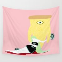 cheese Wall Tapestries featuring cheese pizza by Alba Blázquez