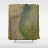 boob Shower Curtains featuring A Lingering Glance by Ana Lillith Bar