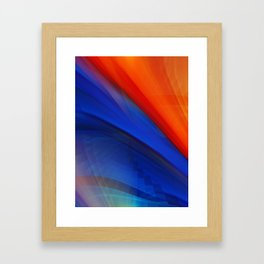 Bright orange and blue Framed Art Print