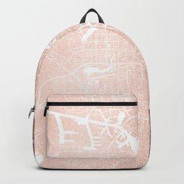 Amsterdam Rosegold on White Street Map Backpack