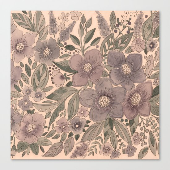 Watercolor . Flowers retro . Canvas Print