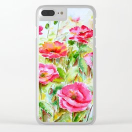 Watercolor pink and red poppies Clear iPhone Case