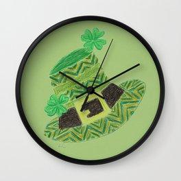 Green chevron leprechaun's hat lucky charm Wall Clock