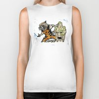 rocket raccoon Biker Tanks featuring Rocket Raccoon and Groot by artbyteesa