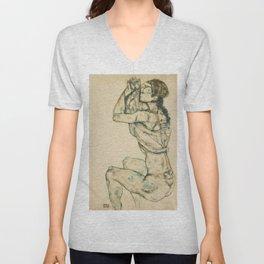 """Egon Schiele """"Female nude with raised shirt"""" Unisex V-Neck"""