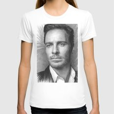 Michael Fassbender - Portrait White SMALL Womens Fitted Tee