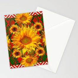 Western Red-White Golden Sunflowers Green Pattern Art Stationery Cards