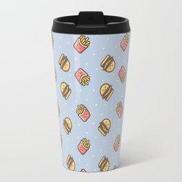 Cute pink brown blue funny fries burger food triangles pattern Travel Mug