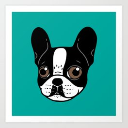 Double Hooded Pied French Bulldog Puppy Art Print