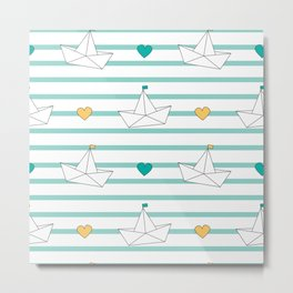 cute cartoon paper boats seamless pattern background illustration Metal Print