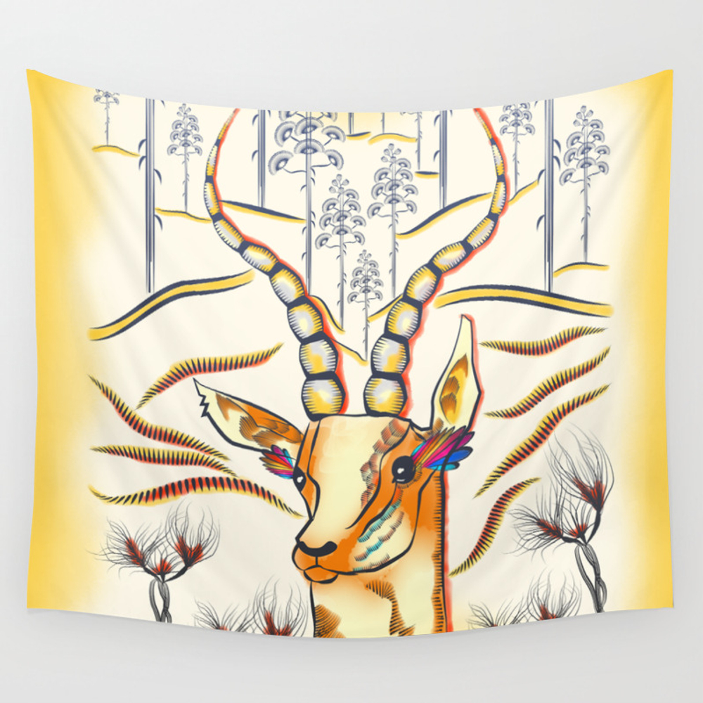 Vibrant Jungle Antelope Wall Tapestry by Famenxt TPS2594549