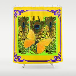 ART NOUVEAU YELLOW BUTTERFLY PEACOCK FEATHERS Shower Curtain