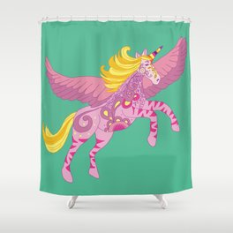 Pegacorn the unicorn pegasus Shower Curtain