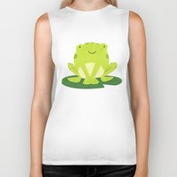 frog Biker Tanks featuring Frog by Claire Lordon