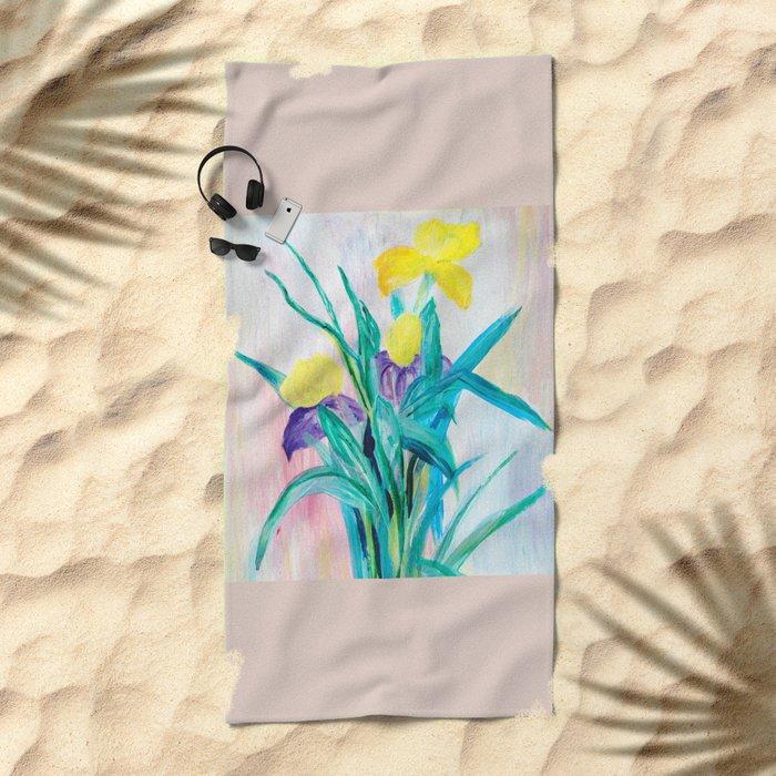 irises on pastel background Beach Towel
