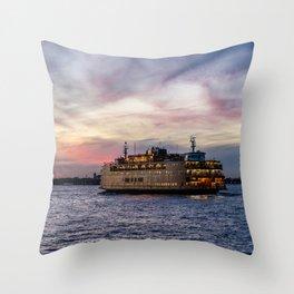Red Sky Ferry Throw Pillow