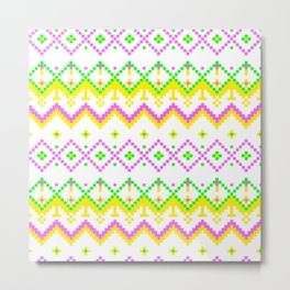 Pixel modern geometric seamless pattern ornament Metal Print