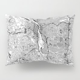Portland White Map Pillow Sham