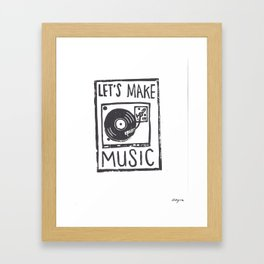 let's make music, hand-carved linoleum block print Framed Art Print