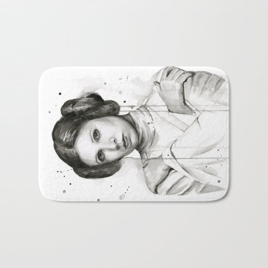 Princess Leia Watercolor Carrie Fisher Portrait Bath Mat