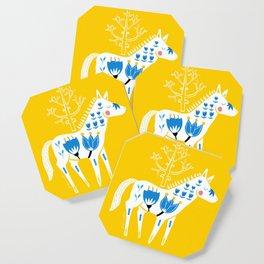Folk horse on yellow Coaster
