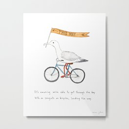 seagulls on bicycles Metal Print