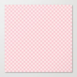 Light Millennial Pink Pastel Color Checkerboard Canvas Print