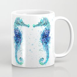 Blue Turquoise Watercolor Seahorse Coffee Mug