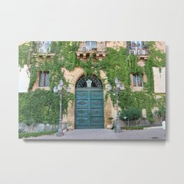 Entrance door Teatro Pirandello Agrigento facade covered plants Sicily green wooden Metal Print