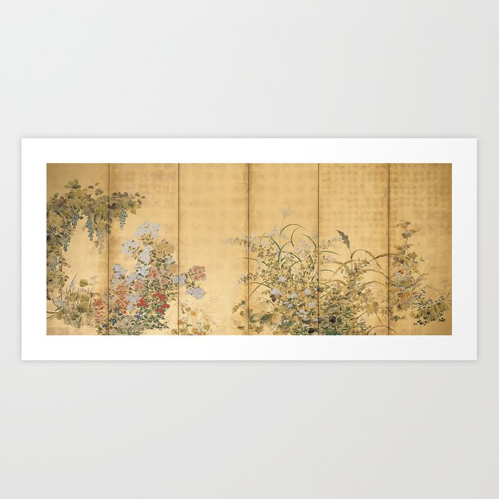 Japanese Edo Period Six-Panel Gold Leaf Screen - Spring and Autumn Flowers Kunstdrucke