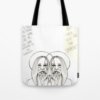ahs Tote Bags featuring Violet AHS by Luna Perri