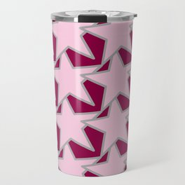 Modern Star Geometric, Light Pink and Burgundy Travel Mug