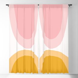 Abstract Shapes 43 in Mustard Yellow and Pale Pink (Rainbow Abstraction) Blackout Curtain