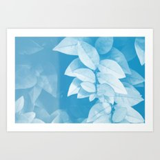 Leaves in Blue Art Print