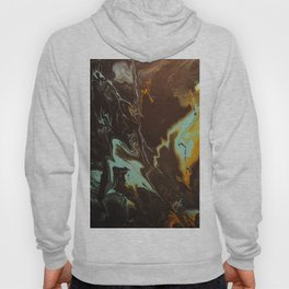Fluid Art Acrylic Painting, Pour 3 - Black, Orange & Turquoise Blended Color Hoody