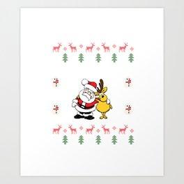 Ugly Sweater Santa Clause Christmas Eve Xmas Holiday Celebration Art Print