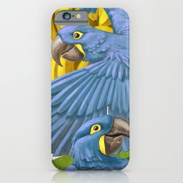 Hyacinth macaws and bananas Stravaganza. iPhone Case