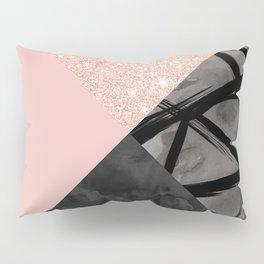 Modern pastel pink black strokes watercolor color block Pillow Sham