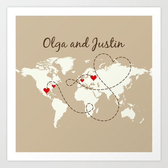 Personalized World Map Love Story by lexiphile