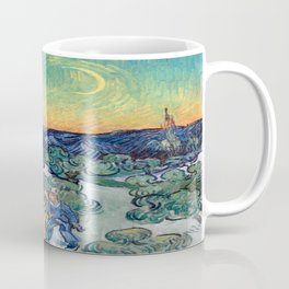 Vincent van Gogh's Landscape with Couple Walking and Crescent Moon Coffee Mug