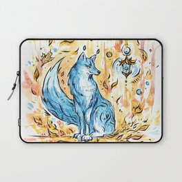 Turquoise fox in the autumn forest with a flashlight ~ watercolor illustration Laptop Sleeve