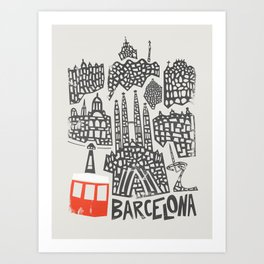 Barcelona Cityscape Art Print