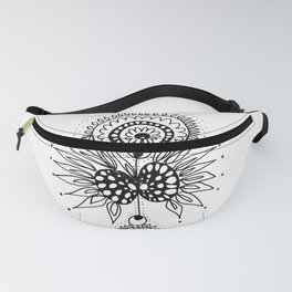 Abstract Black and White Organic Flowery Doodle Fanny Pack