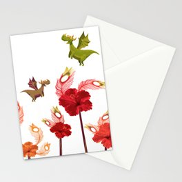 Imaginary Vintage Feather Flower Dragons Stationery Cards
