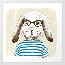 Hipster Rabit with Style Art Print
