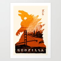 godzilla Art Prints featuring Godzilla  by tim weakland