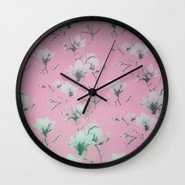 Floral Wallpaper Pink Wall Clock