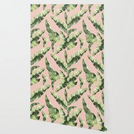Banana Leaves 2 Green And Pink Wallpaper