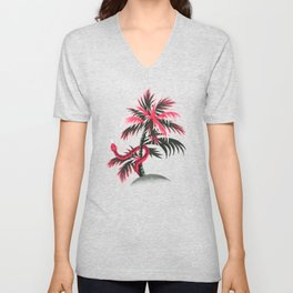 Snake Palms - Light Vintage Coral Unisex V-Neck