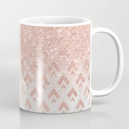 Faux rose gold glitter ombre rose gold foil triangles chevron geometric on white marble Coffee Mug